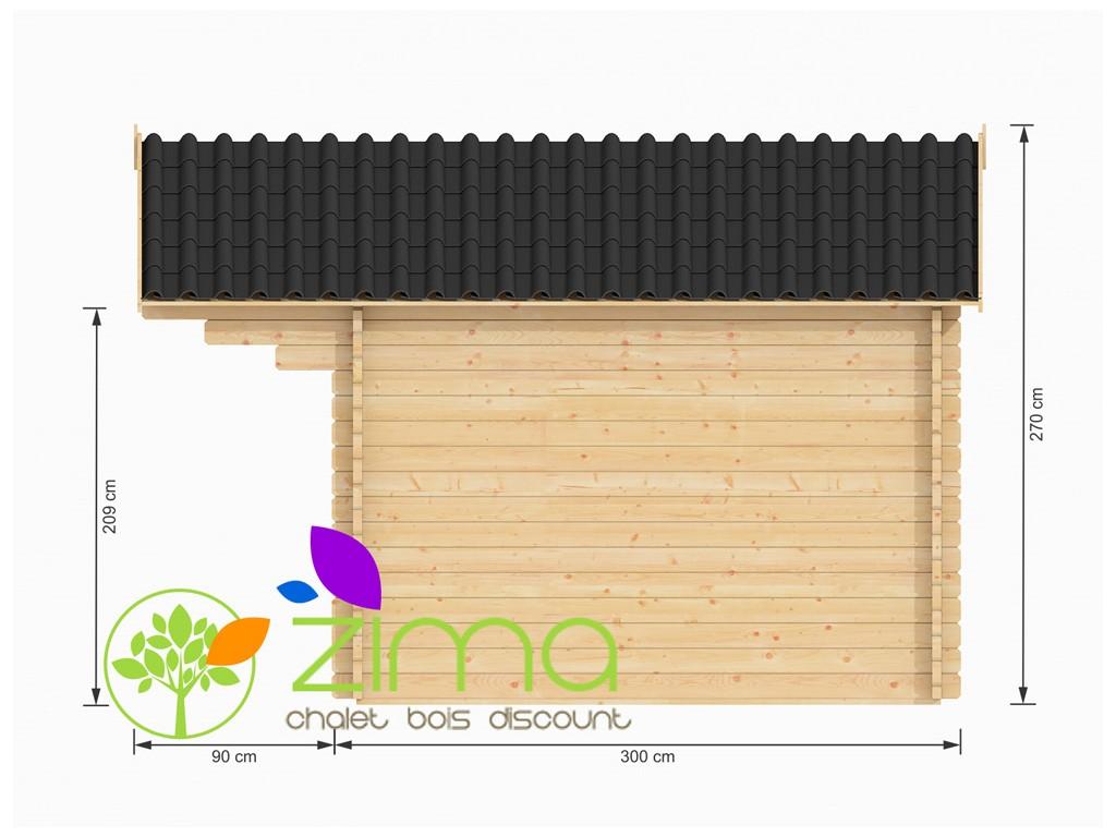 Chalet de jardin en bois massif Bretagne 12m² 4x3