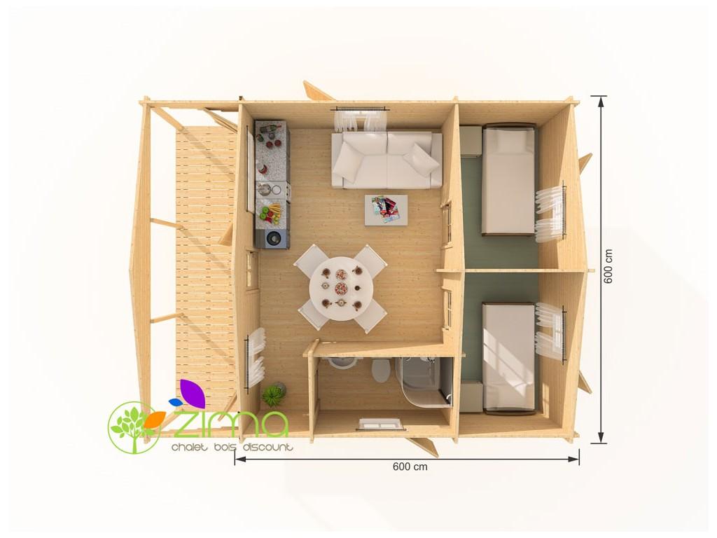 Chalet bois kit bordeaux 36m for Maison prefabriquee 20m2