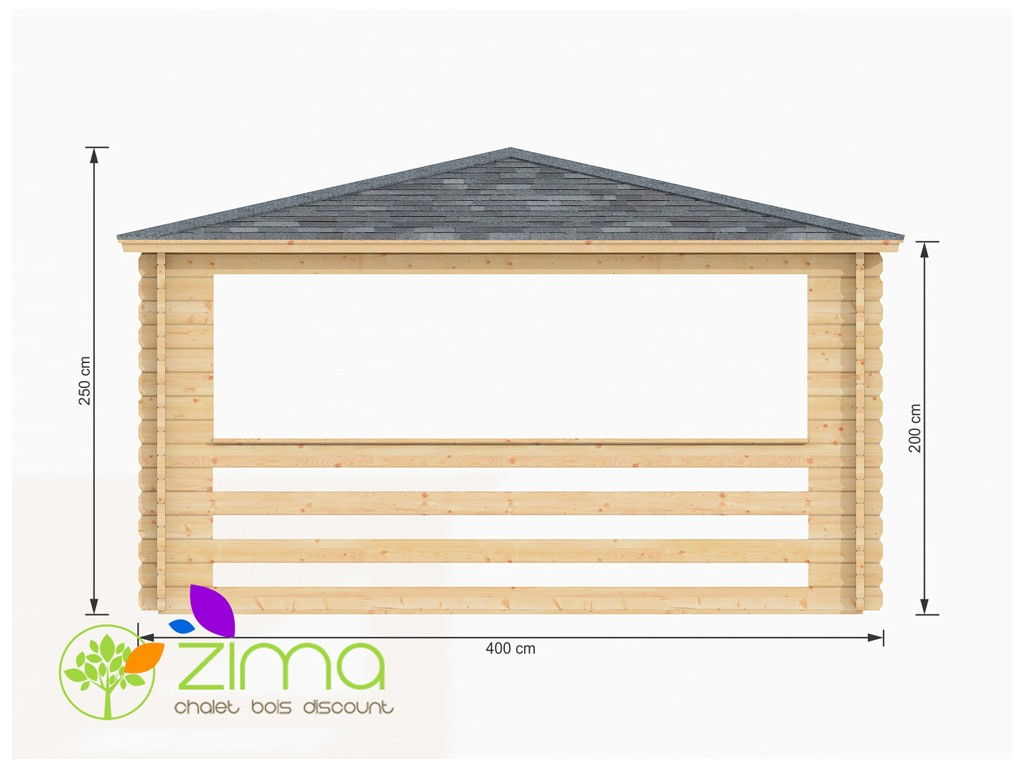 Tonnelle en bois massif 16m 4x4 44mm for Garage de 4x4