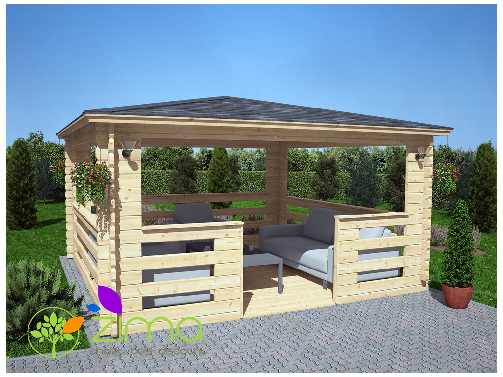 pergola bois 4x3m. Black Bedroom Furniture Sets. Home Design Ideas