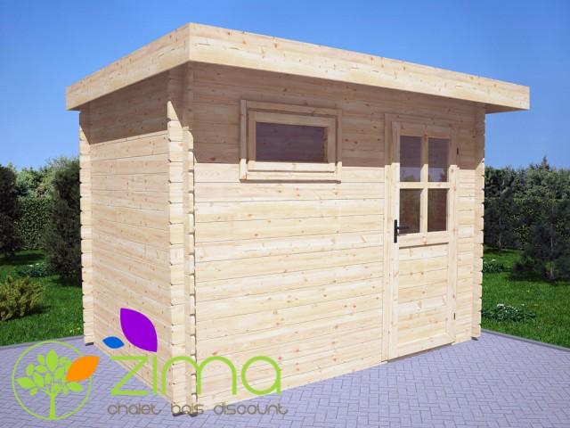 Abris en bois massif modern toit plat for Cabanon en bois toit plat