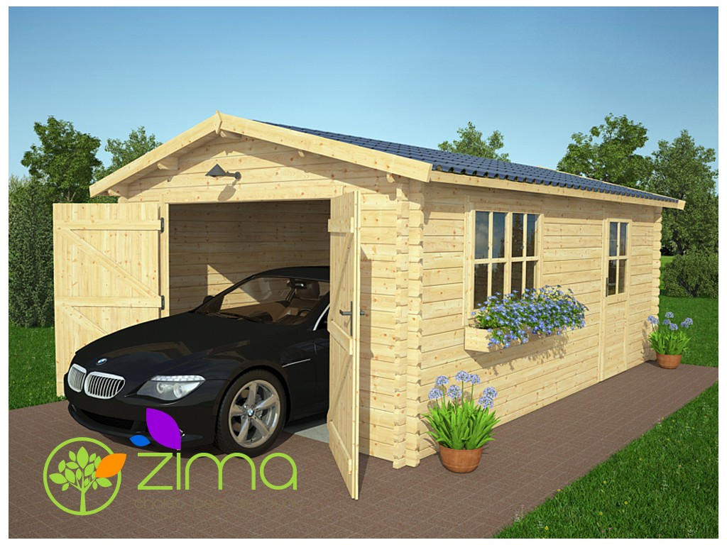 Garage en bois 24 m double vitrage for Garage en bois en solde