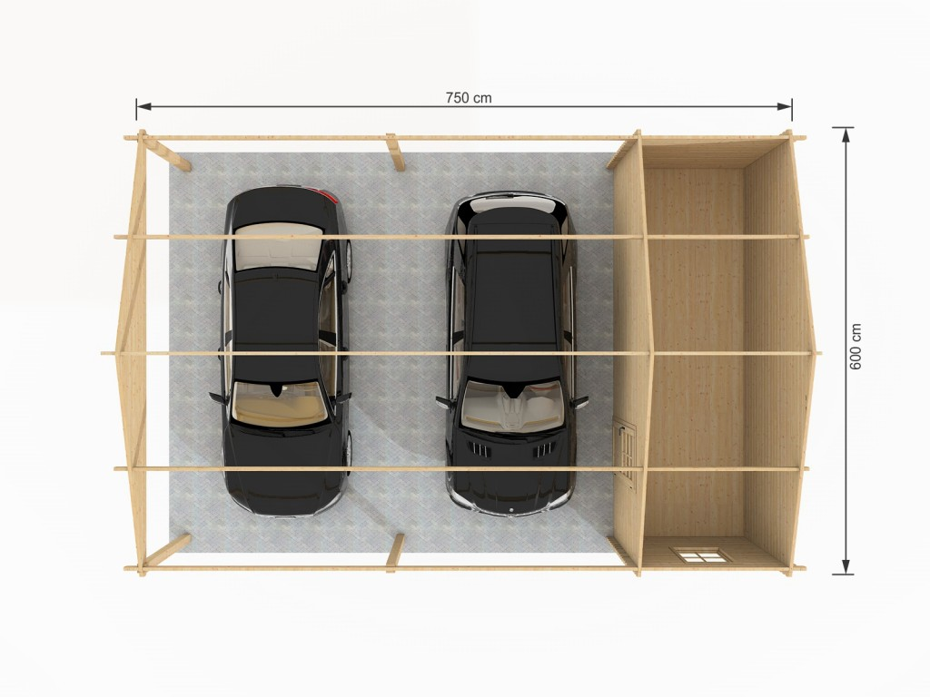 carpot double en bois abris en bois 45m. Black Bedroom Furniture Sets. Home Design Ideas