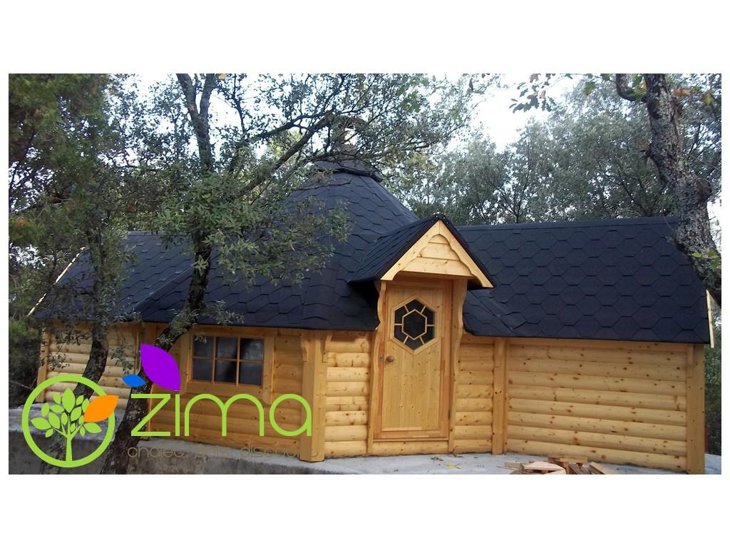 Kota 16 5 m double extension zima chalet bois discount for Extension chalet bois