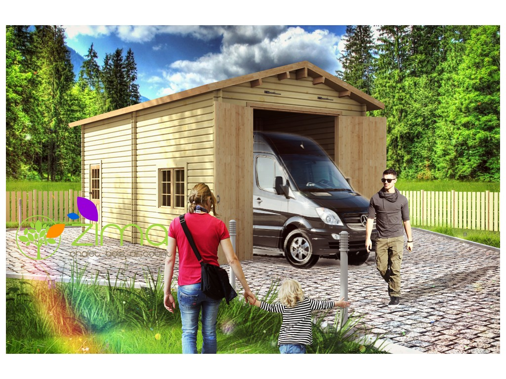 Garage en bois 600x600 44mm 36m for Garage pour camping car en bois