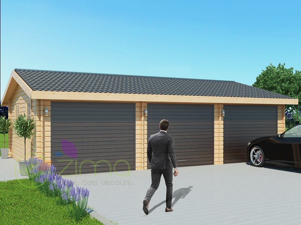 Garage en bois 600x600 44mm 36m for Double porte de garage