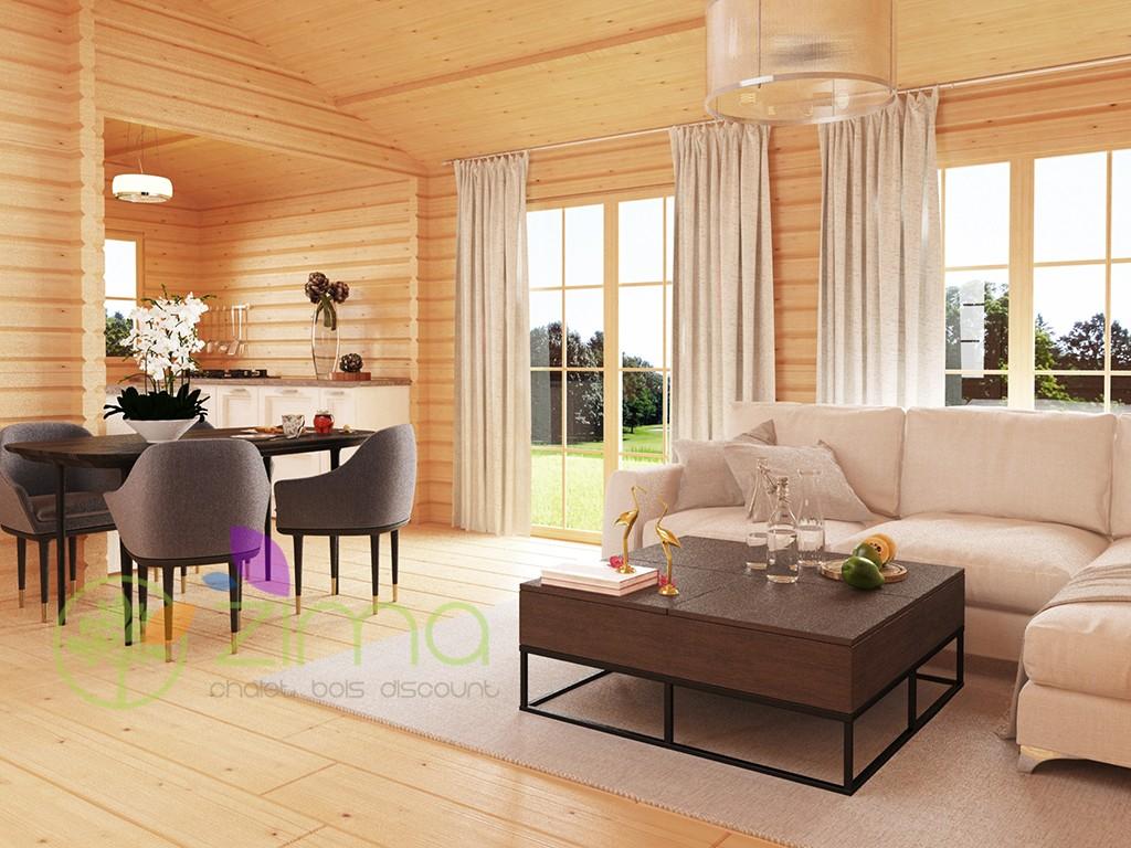 Chalet en bois anna 70m 70mm zima chalet bois discount - Chalet bois discount ...