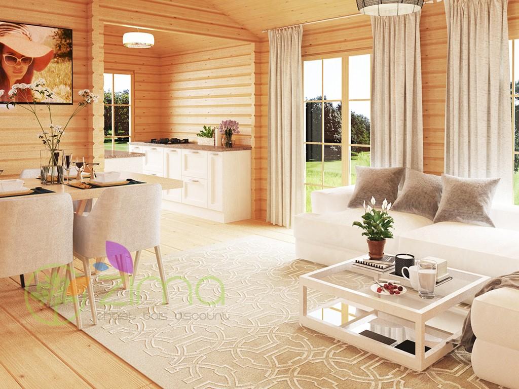 Chalet en bois massif en kit helsinki 10 2m x 7m - Chalet bois discount ...