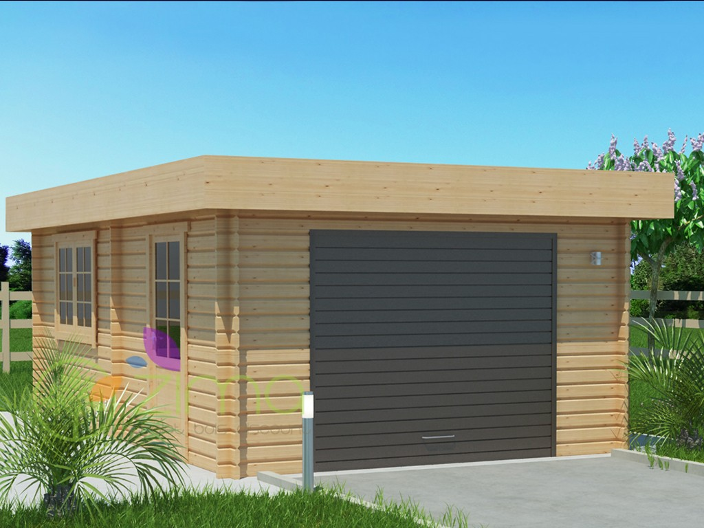 Garage en bois 600x600 44mm 24m for Garage en bois 20m2