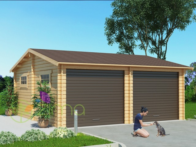Garage en bois 600x600 44mm 36m for Garage en bois en solde