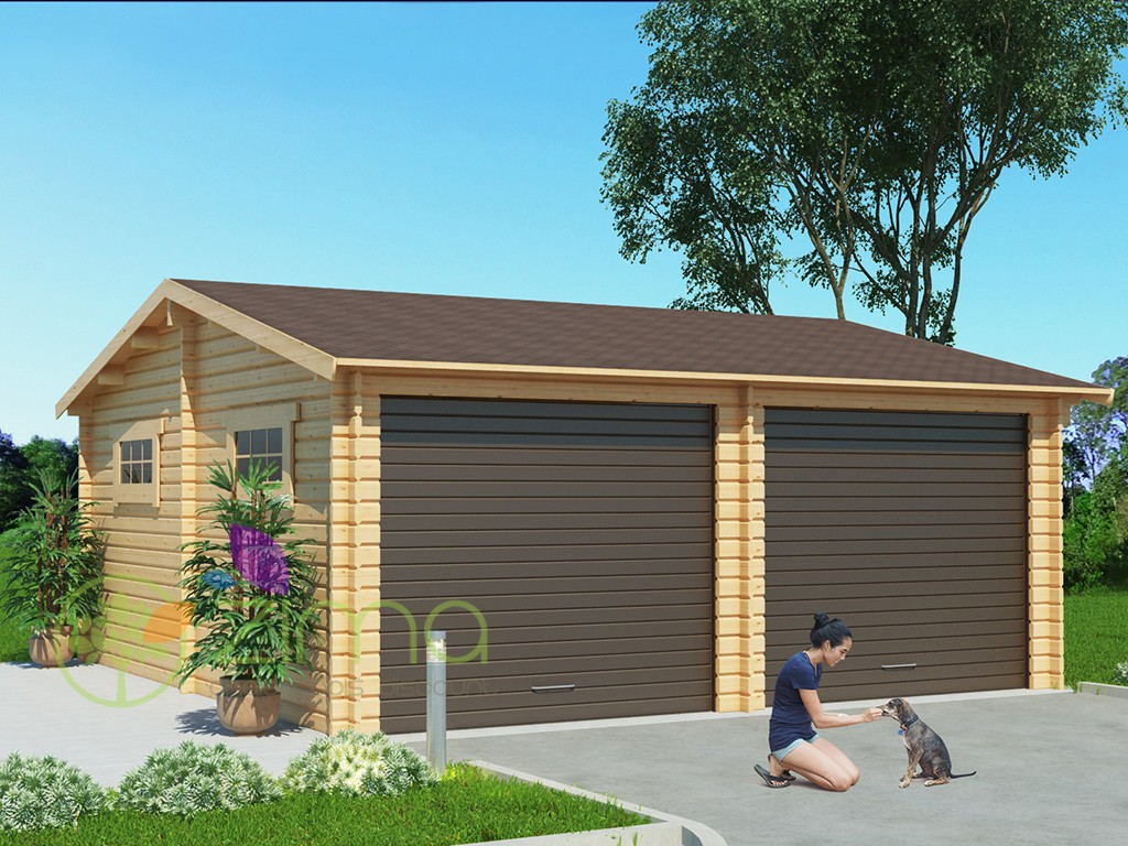 Garage en bois 600x600 44mm 36m for Garage en bois 20m2