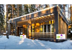 Maison bois isolée toit plat moderne